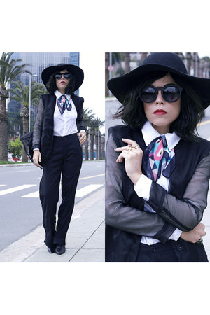 hat - blazer - scarf - sunglasses - pants