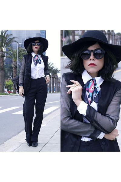 hat - blazer - scarf - sunglasses - pants