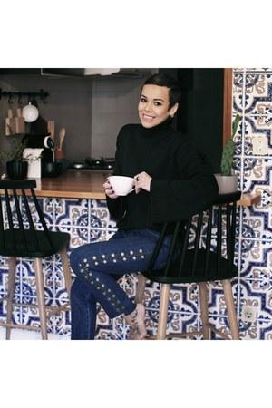 black wide sleeve sweater sweater - navy Eyelet denim pant jeans