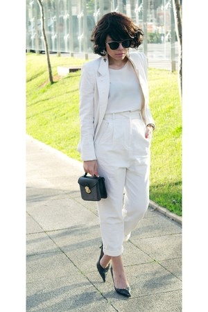 blazer - bag - blouse - heels - pants
