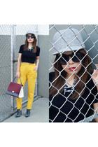 boots - hat - bag - sunglasses - pants - top