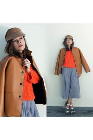 hat - jacket - sweater - heels - pants
