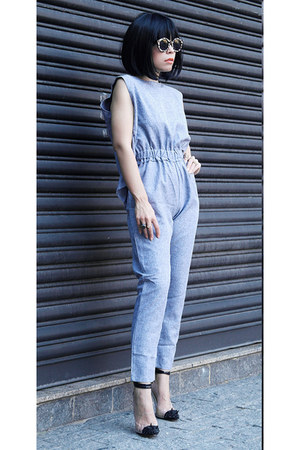 jumpsuit top - sunglasses - heels