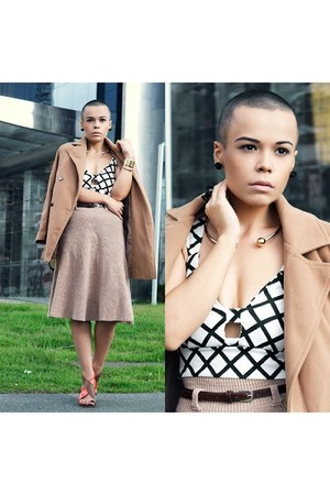 ring - coat - skirt - necklace - earrings - top