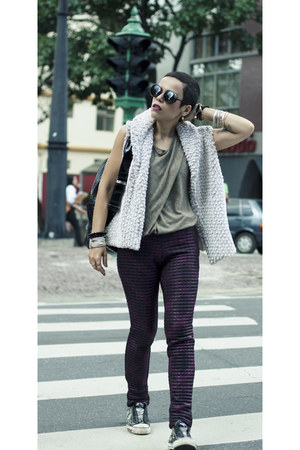 black LEATHER BACKPACK bag - black asos glasses - maroon Matelasse pants pants