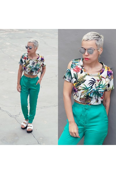 shoes - sunglasses - top - pants