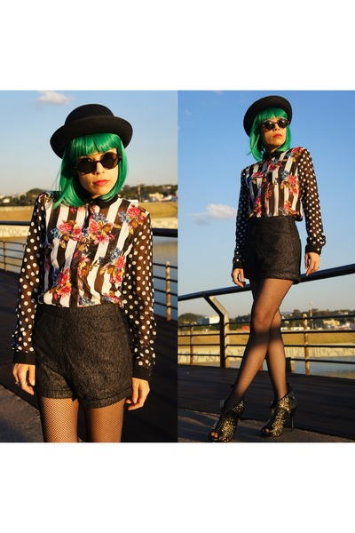 black romwe blouse - black Alexander McQueen boots