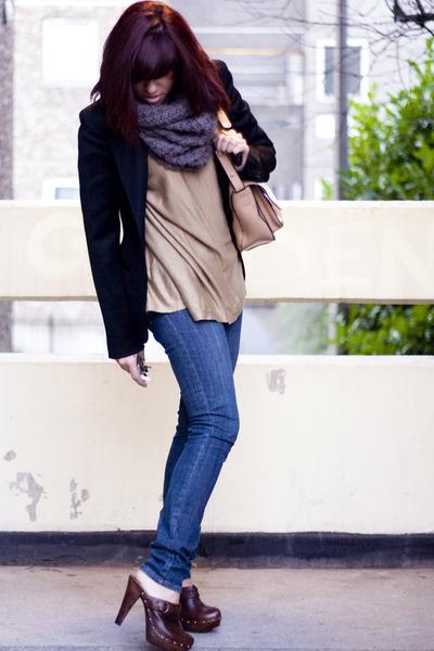 brown JONES BOOT BAKER CLOGS clogs - Urban Outfitters jeans - joseph jacket