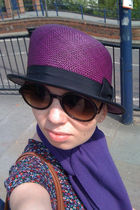 purple beiley by hollywod hat - purple Enrico Coveri scarf - brown cynthia rowle
