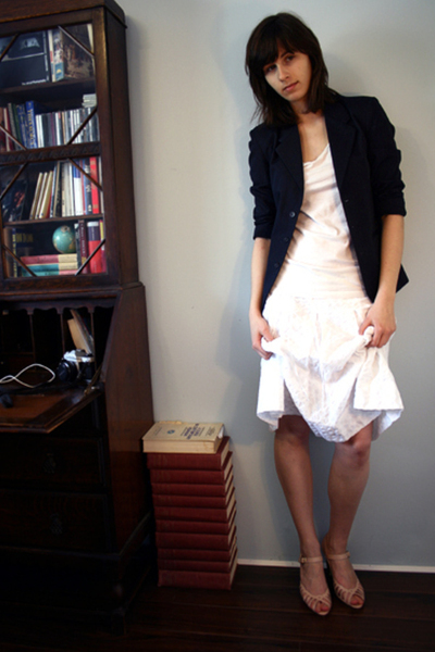 school boy thrifted blazer - H&M t-shirt - joe fresh style skirt - payless shoes