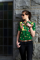 green thrifted blouse - black Zara jeans - brown thrifted sunglasses