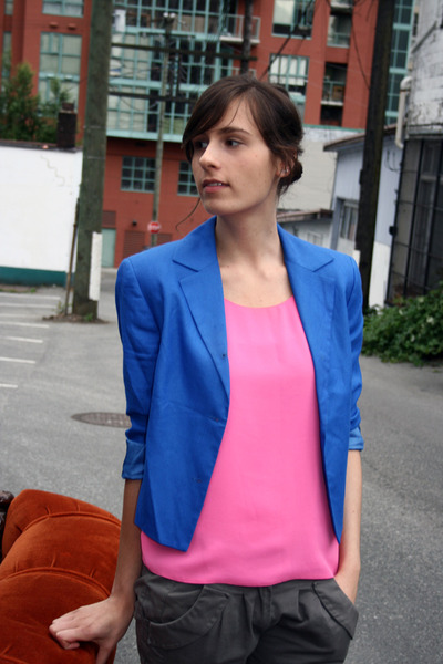 thrifted Value Village blouse - thrifted Value Village blazer - Topshop pants