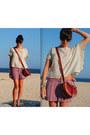 stripes f21 shorts - lace detail Sanctuary top