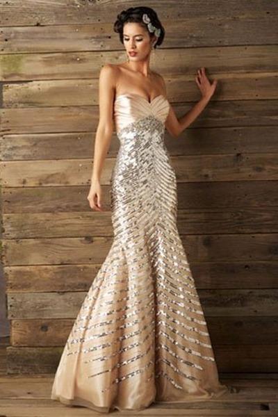 champagne strapless sequin prom dress « Bella Forte Glass Studio