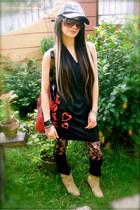 beige flats boots - black backless genevieve gozum dress - red totte Kitson bag