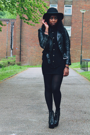 black floppy hat H&M hat - black H&M jacket - black sheer shirt select shirt