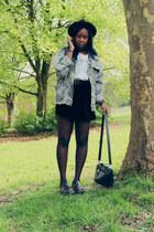 heather gray vintage Beyond Retro jacket - deep purple Dr Martens shoes