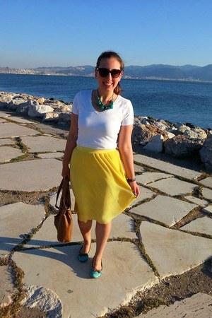 yellow Koton skirt - brown Koton sunglasses - white Mango t-shirt