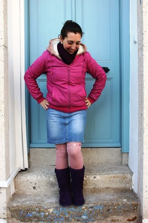 deep purple Steve Madden boots - hot pink Rodi coat - bubble gum penti tights