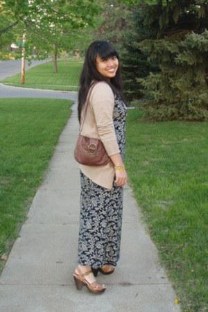 navy thrifted silk Ralph Lauren dress - brown Target bag