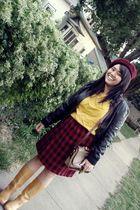 black Wet Seal jacket - gold vintage blouse - red vintage skirt - brown Dooney &