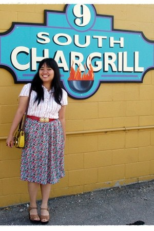 yellow asos bag - aquamarine thrifted floral vintage skirt - red thrifted vintag