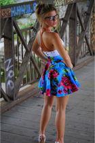 white my brand top - blue my brand skirt