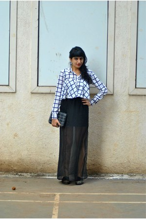 sheer Closet Label skirt - brogues Zara shoes - checks thrifted shirt