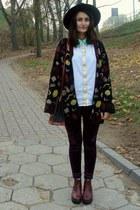 black H&M hat - brick red vagabond boots - black wool second hand sweater