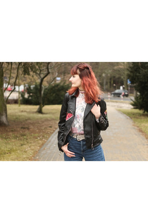 black Yoshop bag - navy Stradivarius jeans - black Rosegal jacket