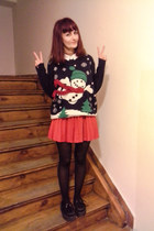 navy second hand sweater - red vintage skirt