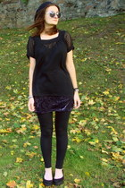 black DKNY blouse - purple velvet DIY skirt