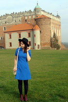 crimson vintage coat - blue vintage dress - black H&M hat