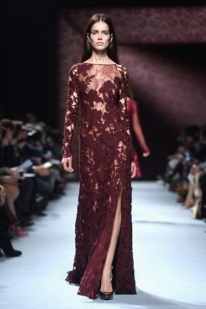 oxblood lace Nina Ricci dress