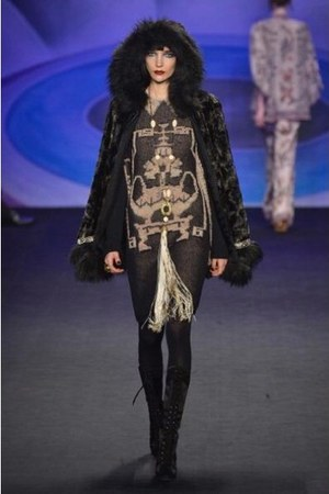 suede Anna Sui boots - black and white Anna Sui dress - fur Anna Sui coat