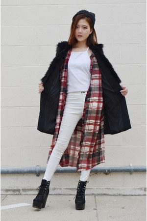 faux fur vest Sheinside vest - black boots Jeffrey Campbell boots