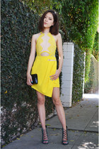 yellow jumper Sheinside jumper - clutch Louis Quatorze bag