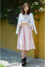 White-jacket-cndirect-jacket-midi-skirt-q2han-skirt
