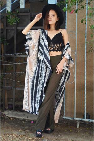 kimono cardigan Q2HAN cardigan - lace crop top Tobi top
