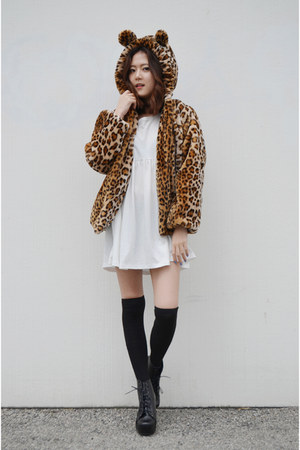 leopard coat romwe coat - babydoll dress Q2HAN dress