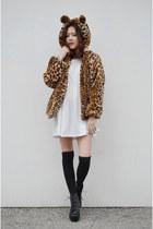 leopard coat romwe coat - babydoll dress Q2HAN dress