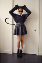 pleather skirt cotton on skirt - black boots Jeffrey Campbell boots