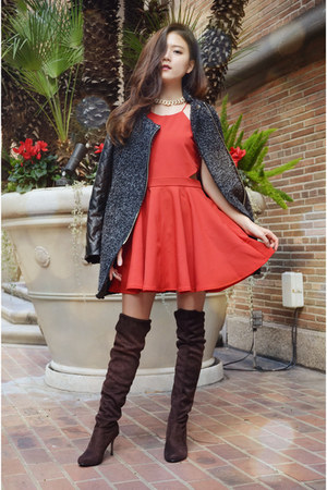 red party dress Q2HAN dress - DressLink boots - oversized coat DressLink coat