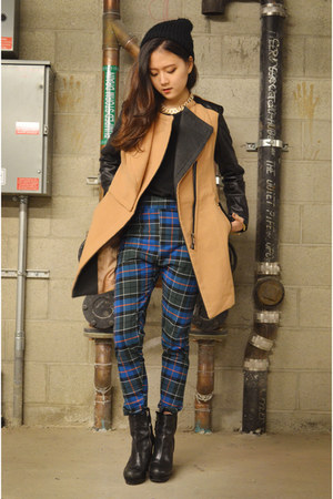 plaid pants Q2HAN pants - Sheinside coat