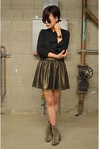 Q2HAN skirt - boots Aldo boots - black blouse Zara blouse