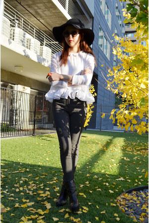 Q2HAN blouse - jersey pants Mango pants