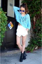 daisy choker Q2HAN necklace - aqua sweater Rosewholesale sweater