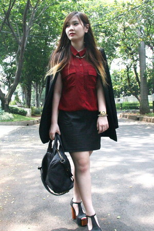 black studs Zara blazer - black Alexander Wang bag - red Dotti top