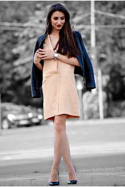 peach Zara dress - black leather Zara jacket - black Zara heels
