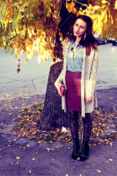 heather gray H&M cardigan - black studded Zara boots